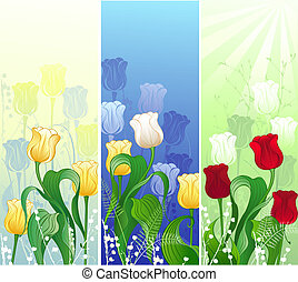banner with tulips