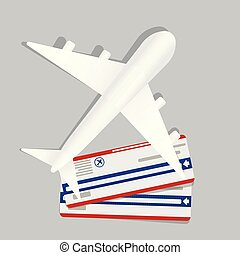 Banner with two boarding pass tickets and aircraft. flying airplane express delivery shipping international transportation concept. Vector icon illustration