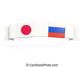 Banner with two square flags of Japan and russia