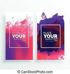 banner with watercolor splash vector set