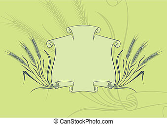 Scroll banner and wheat on green background