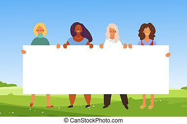 Banner with women of different nationalities. Standing girls are holding a poster with place for text. Concept for the holiday, environmental protection, friendship. Vector illustration.