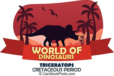 Banner World of dinosaurs. Prehistoric world. Triceratops. Cretaceous period.