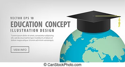 Banner World with a Graduation hat on top. Means education is recognized by people all over the world vector.