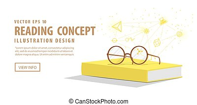Banner yellow book with glasses resting on top. Background is icons refers to knowledge and learning vector.