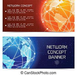 bannere, begreb, klode, netværk