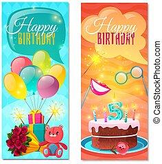 bannere, fødselsdag, vertikal, glade