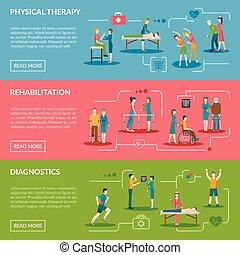 bannere, fysioterapi, rehabilitering