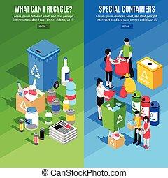 bannere, genbrug, affald, vertikal