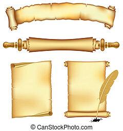 bannere, og, scroll, papirer