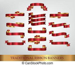 bannere, rød bånd