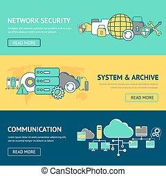 bannere, sæt, netværk
