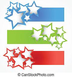 bannere, sæt, stjerner