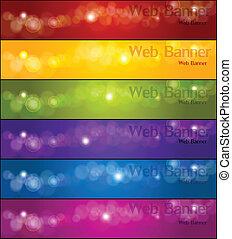 bannere, vektor, sæt, farverig