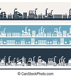 banners., 横, 産業, 建物, 工場