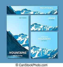 Banners and business cards with mountains