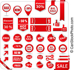 Vector set of red price tags, labels, stickers, arrows and ribbons