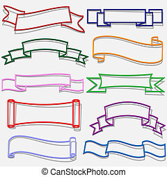 banners and ribbons from paper outline - Set of banners and...