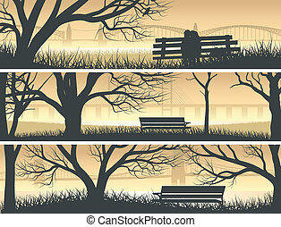 Banners beach with bay bridge. - Set vector horizontal...