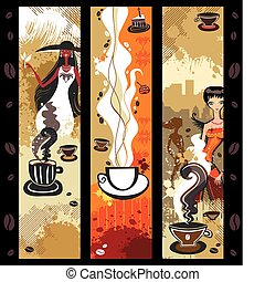 banners., café, filles