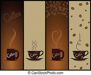 banners., café, vector, conjunto