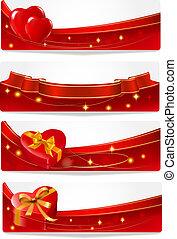 banners., dag, valentinkort s