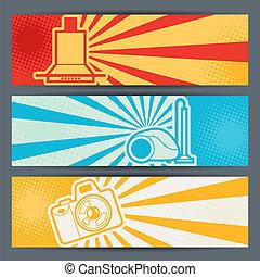 banners., eletrônica, horizontais, eletrodomésticos, lar