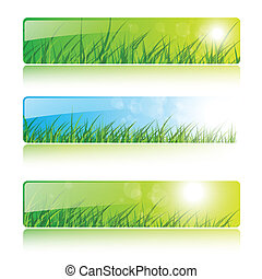 Banners with grass and sun, vector backgrounds.