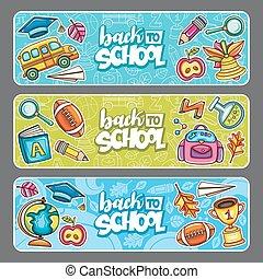 banners., escola, vetorial, costas