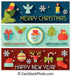 banners., feliz, ano, novo, horizontais, natal, feliz