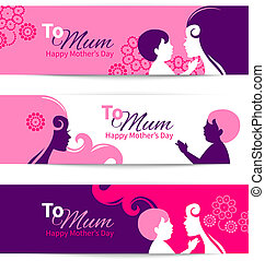 Banners for Happy Mothers Day. Beautiful mother with baby silhouettes