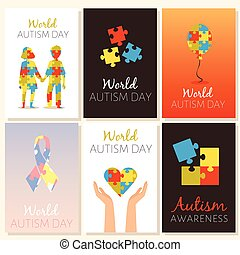 Set banners for World Autism Day, flat vector illustration. Posters for World Day against Autism syndrome or attention deficit hyperactivity disorder in children.