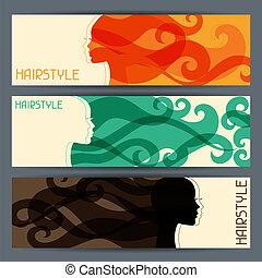 banners., frisur, horizontal