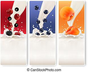 banners., fruta, três, vector., leite
