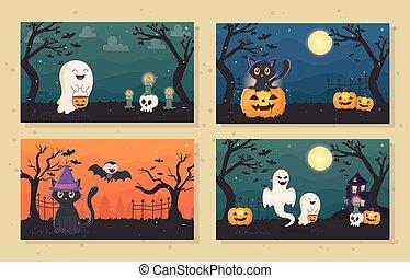 banners ghost cat pumpkin lantern halloween