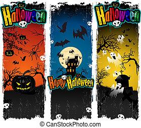 Banners Halloween pumpkin ghost cas