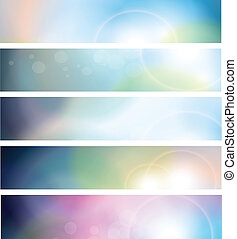 Banners, headers abstract blue lights, vector.