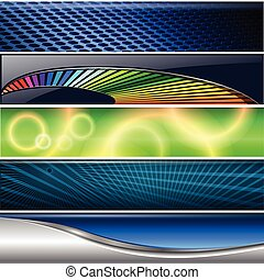 Banners, headers colorful internet backgrounds set, vector.