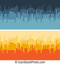 banners., horizontais, industrial, edifícios, fábrica