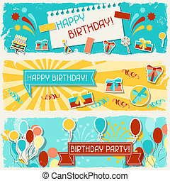 banners., horizontal, anniversaire, heureux