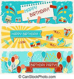 banners., horizontal, cumpleaños, feliz