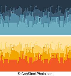 banners., horizontal, industriel, bâtiments, usine