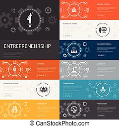 banners., investidor, empreendedorismo, 10, linha,...