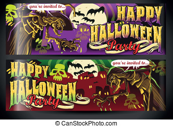 Banners Invite for Halloween Party