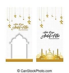 banners., islámico, resumen, musulmán, vector, saludo