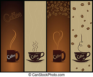 banners., koffie, vector, set