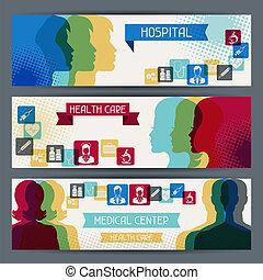 banners., medische gezondheid, horizontaal, care