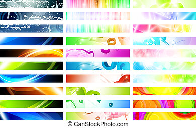 banners - Mega pack of bright multicolored web banner set...