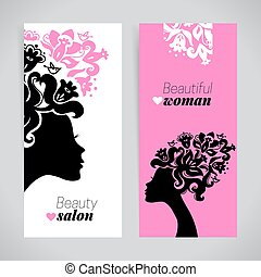 Banners of beautiful women silhouettes with flowers.