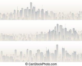 Banners of big city in haze.